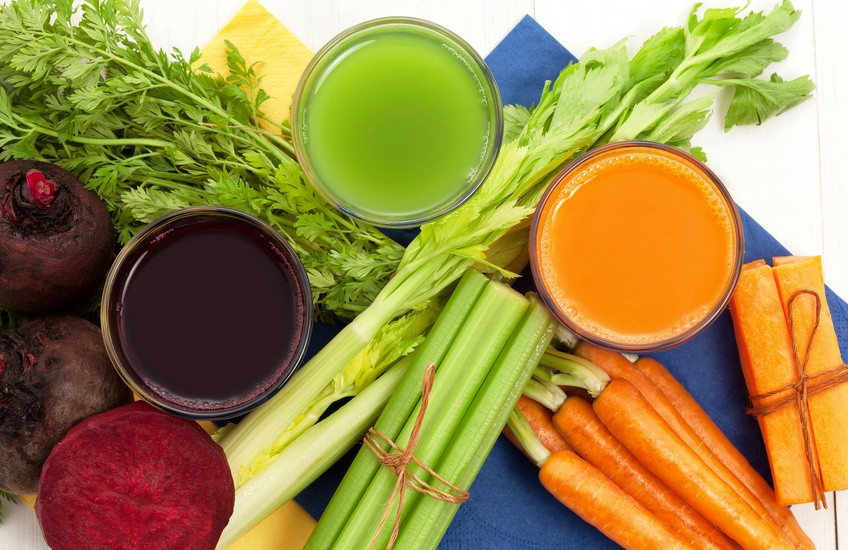 Vegetable juice with beet carrot and celery