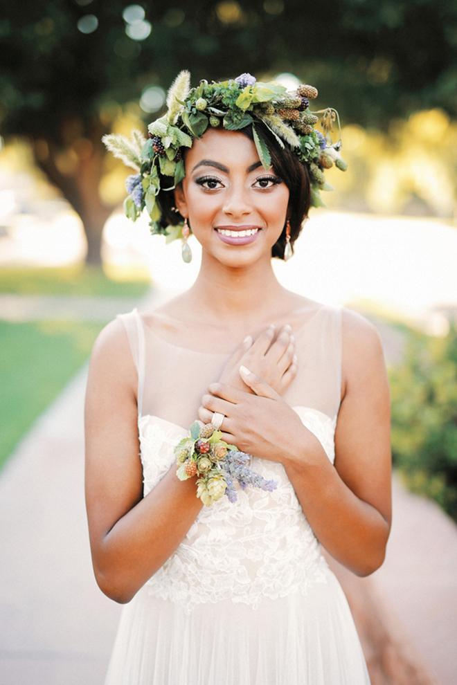 Bride wearing BHLDN white wedding dress | Farm Fresh Style Wedding in Utah | Gideon Photography | Ultimate Wedding Magazine