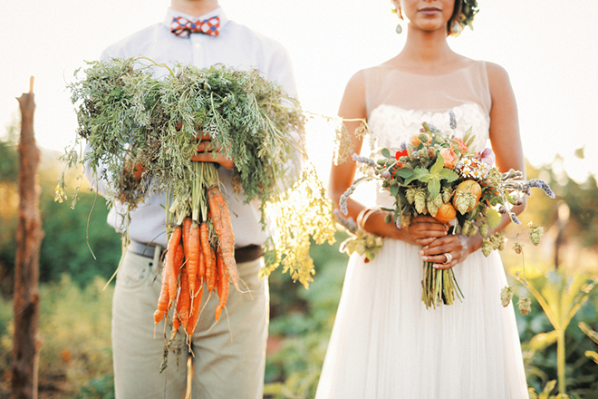 Bride and groom with natural bouquets | Farm Fresh Style Wedding in Utah | Gideon Photography | Ultimate Wedding Magazine