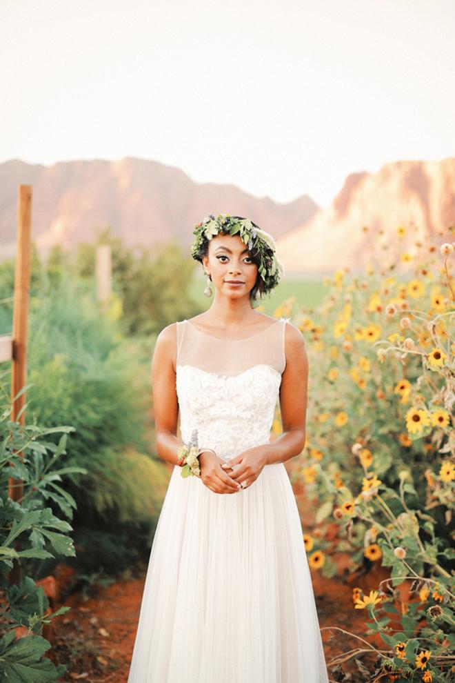 Bride wearing BHLDN wedding dress | Farm Fresh Style Wedding in Utah | Gideon Photography | Ultimate Wedding Magazine