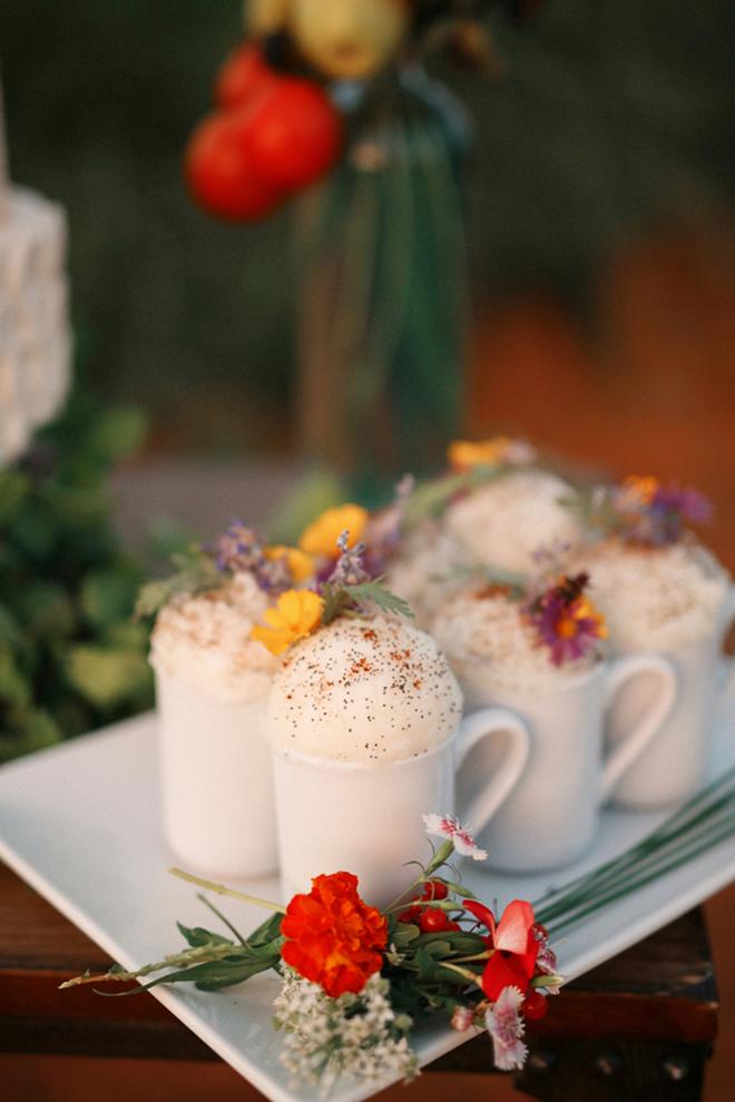Frothy coffees at wedding | Farm Fresh Style Wedding in Utah | Gideon Photography | Ultimate Wedding Magazine