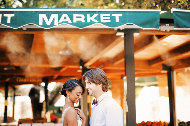 Bride and Groom at market | Farm Fresh Style Wedding in Utah | Gideon Photography | Ultimate Wedding Magazine