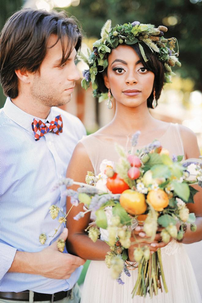 Bride and Groom with organic bouquet | Farm Fresh Style Wedding in Utah | Gideon Photography | Ultimate Wedding Magazine