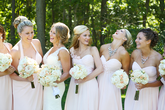 Bridesmaids in pink dresses | Canada joins USA on Lake Erie | Blue Martini Photography
