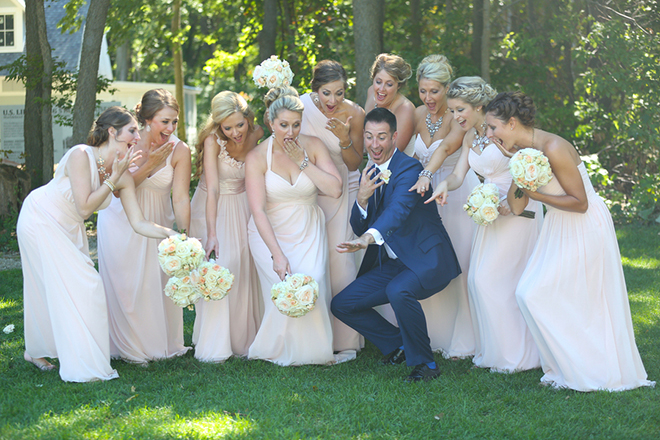Groom with bridesmaids | Canada joins USA on Lake Erie | Blue Martini Photography
