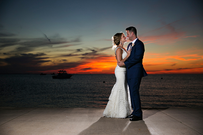 Wedding couple at sunset | Canada joins USA on Lake Erie | Blue Martini Photography