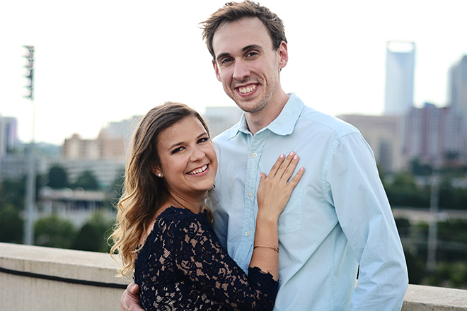 Couple with Charlotte skyline | Engagement Shoot in Charlotte NC | Catrina Earls Photography