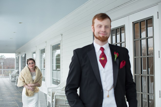 Bride and Groom on veranda | Regal Winter Wedding | Bokeh Love Photography