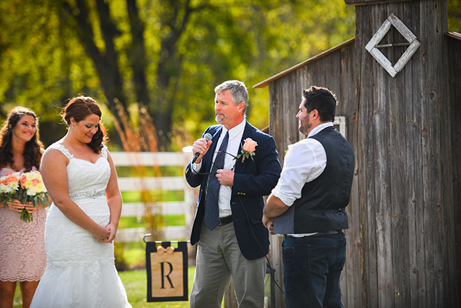 Standing at the altar | Barn Wedding in Ohio | Photos by Yvonne