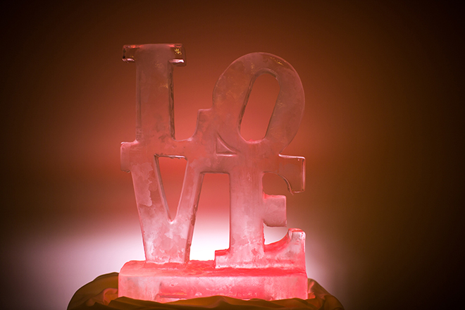 LOVE ice sculpture | Regal Winter Wedding | Bokeh Love Photography