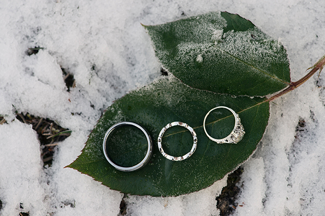 Wedding rings on snow | Regal Winter Wedding | Bokeh Love Photography
