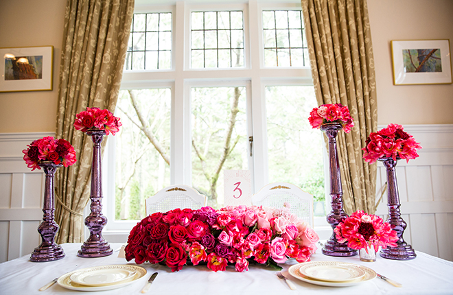 Pink table flowers | Ombre Pink | Joanna Moss Photography