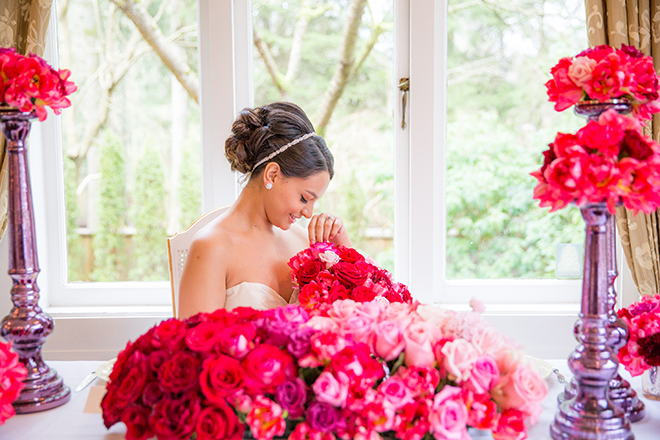 Bride with pink flowers | Ombre Pink | Joanna Moss Photography