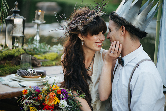 Bride and Groom wearing headpieces | Where the wild things are | Elizabeth Cryan Photography