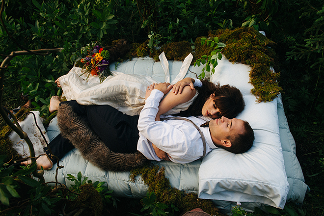 Bride and Groom relaxing in the woods | Where the wild things are | Elizabeth Cryan Photography