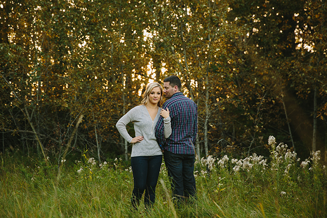 Standing in the woods | Autumn Engagement in Alberta | Twitchy Finger Photography