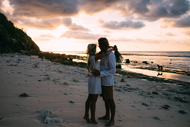 Bride and groom at sunriseBalinese Beach Surf Elopement | Emily & Steve Photography