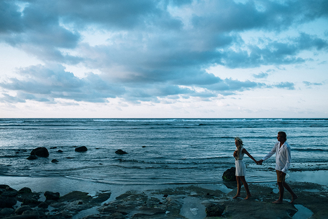 Walking in the sea | Balinese Beach Surf Elopement | Emily & Steve Photography