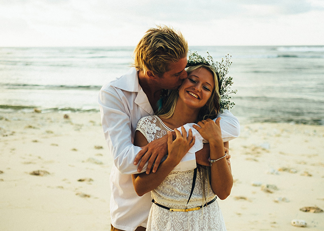 Bride and Groom on the beach | Balinese Beach Surf Elopement | Emily & Steve Photography