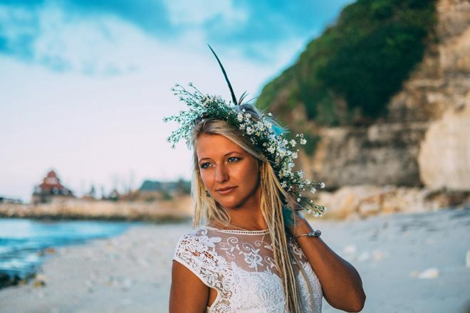 Woman standing on the beach | Balinese Beach Surf Elopement | Emily & Steve Photography