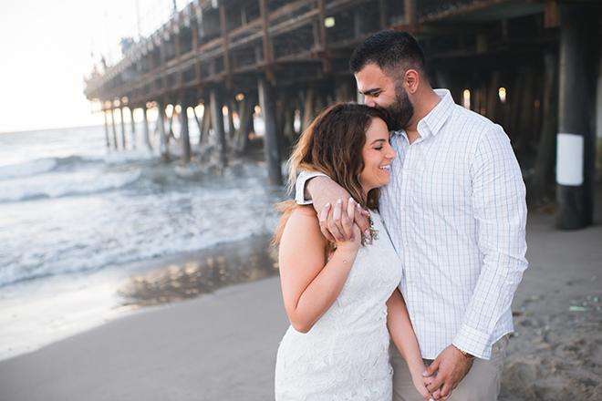 Couple on Santa Monica beach | Engagement in Santa Monica | Randy + Ashley Photography