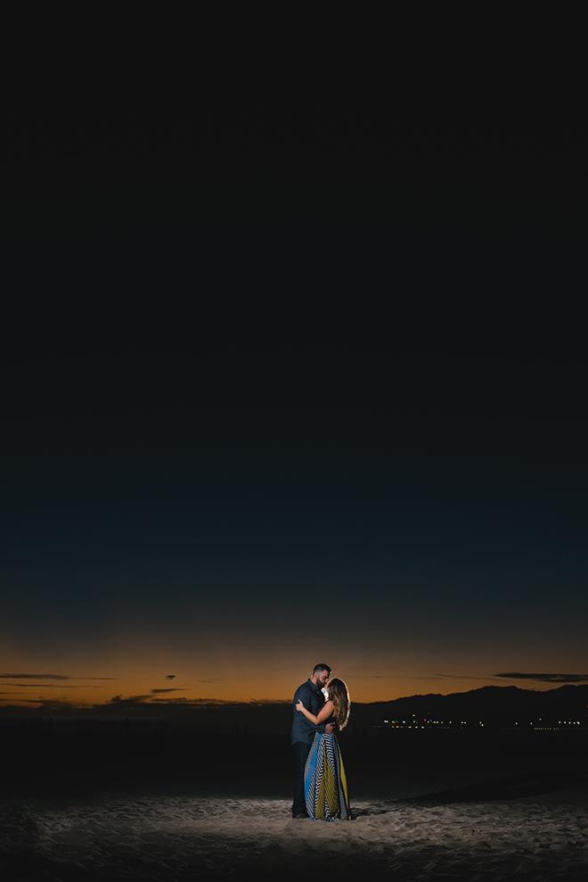 Night time photos on Santa Monica beach | Engagement in Santa Monica | Randy + Ashley Photography