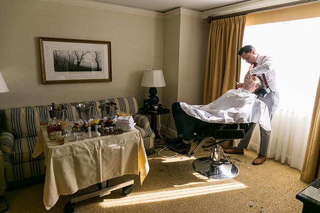 Grooms shaving before wedding | Grooming the groom | Michael Bennett Kress Photography