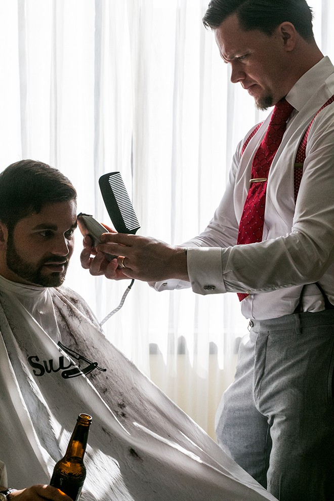 Grooms haircut | Grooming the groom | Michael Bennett Kress Photography