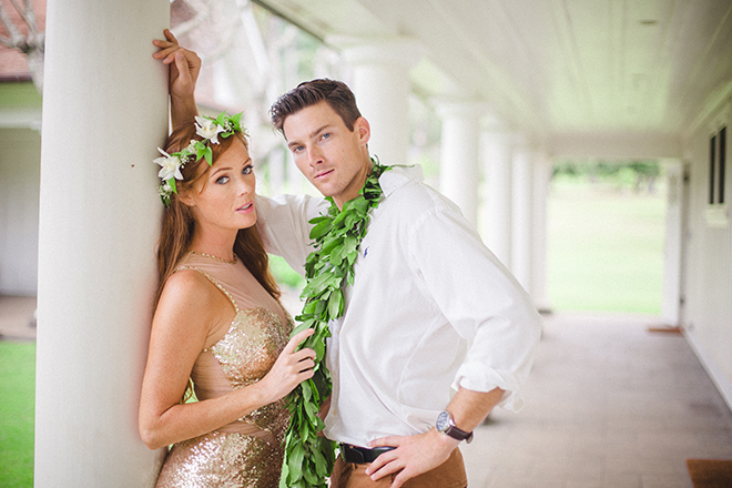 Gold bridal dress | Paradise in Hawaii | Jenna Lee Pictures