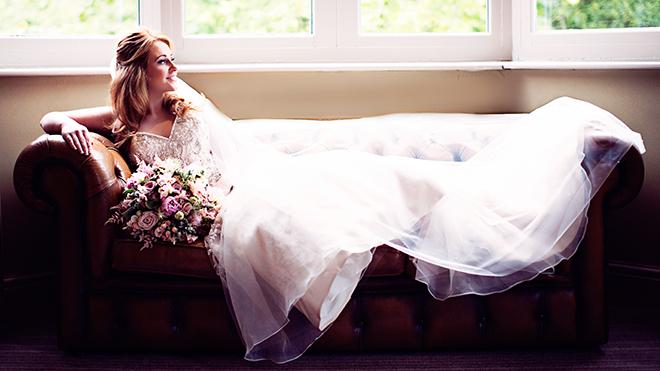 Bride on sofa | Pantone Wedding Colours | Teresa C Photography