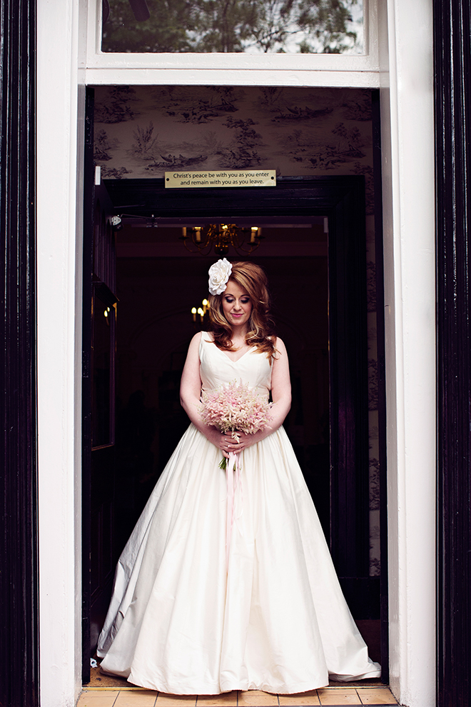 Bride standing in doorway | Pantone Wedding Colours