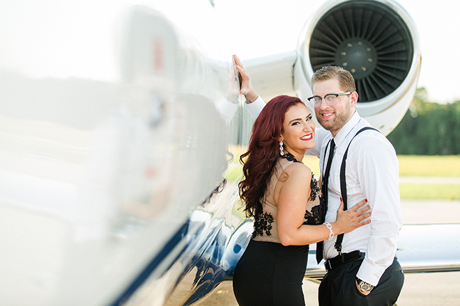 Man and Woman outside private aircraft | Vintage Airport Engagement | Ailyn La Torre Photography