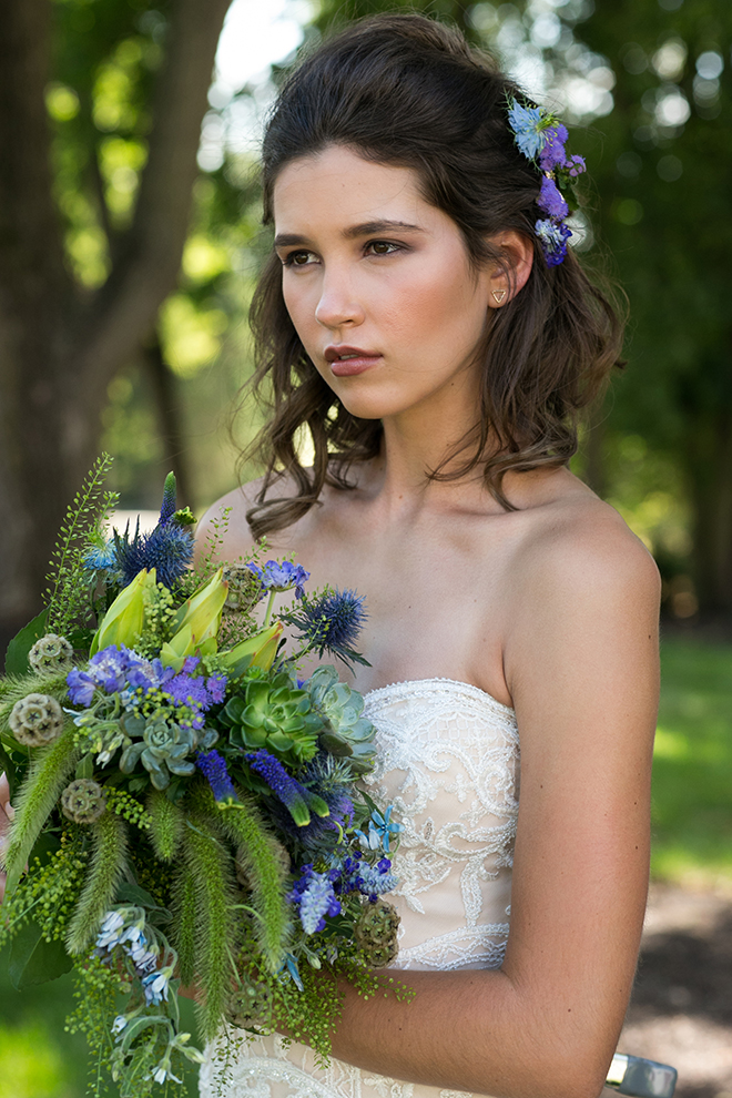 Rustic bride holding green bouquet | Whimsical Rustic Bride | Michael Bennett Kress Photography