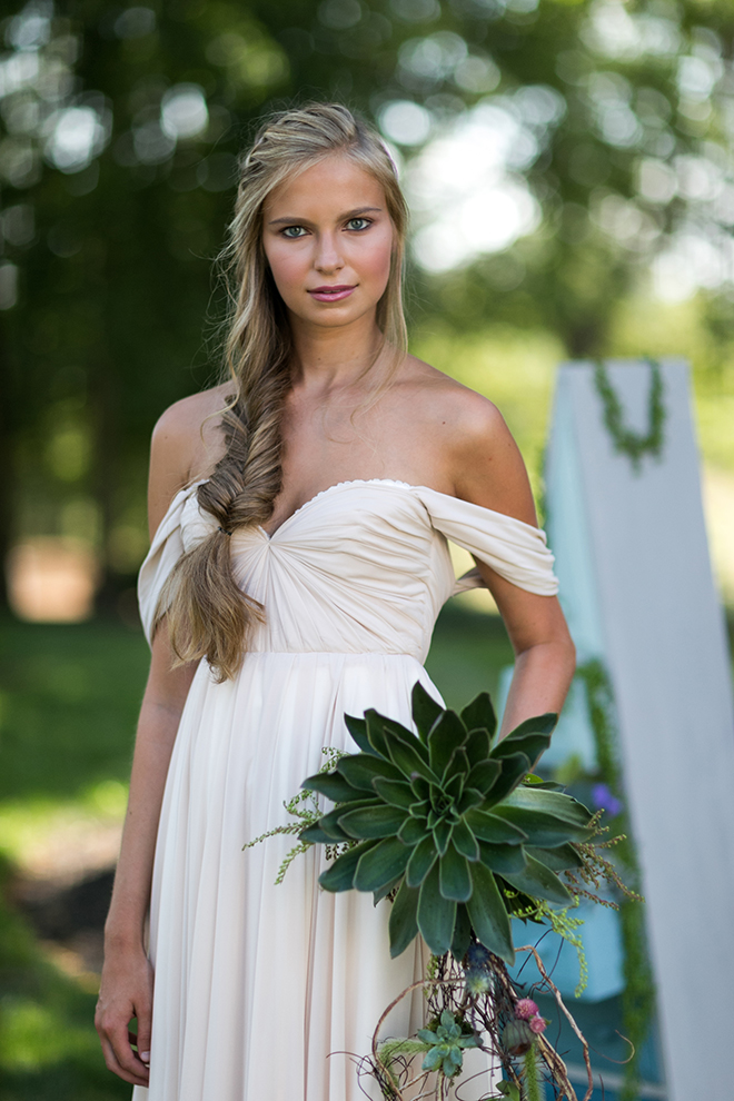Bride with succulent bouquet | Whimsical Rustic Bride | Michael Bennett Kress Photography