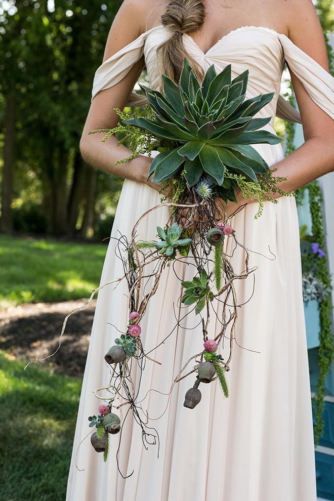 Succulent bridal bouquet | Whimsical Rustic Bride | Michael Bennett Kress Photography