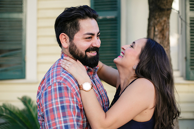 Couple laughing together | Downtown San Antonio Engagement | Laura Elizabeth