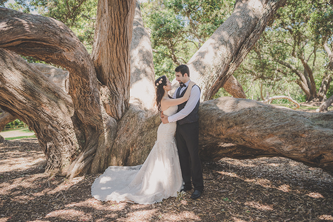 Bride and groom outside | Rose Garden Beach Wedding | Levien and Lens Photography