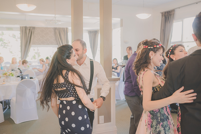 Dancing guests at wedding | Rose Garden Beach Wedding | Levien and Lens Photography