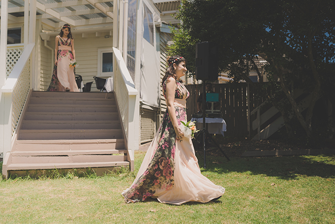 Bridesmaids walking to ceremony | Rose Garden Beach Wedding | Levien and Lens Photography