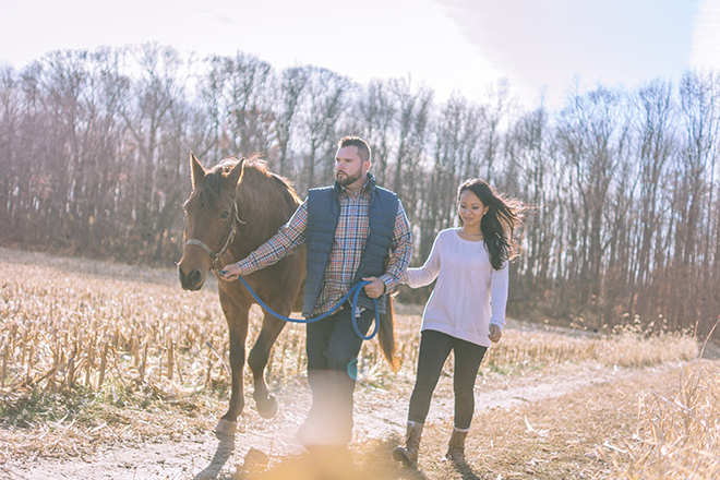 Engaged couple with horse | Rustic Engagement | Anders Portfolio Photography