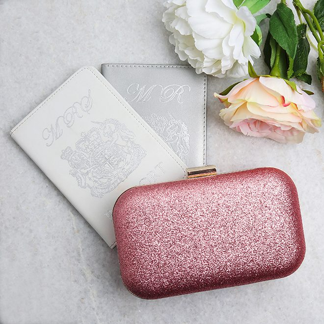 Red sparkle wedding clutch