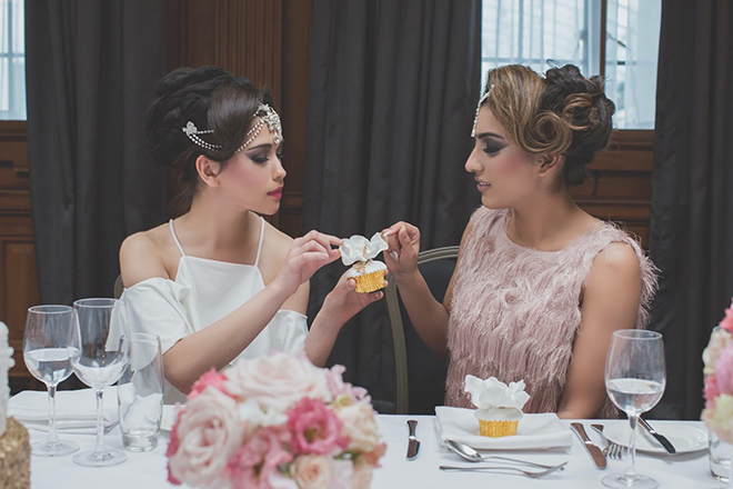 Brides tasting cake | City Chic | Zoe Ann Photography
