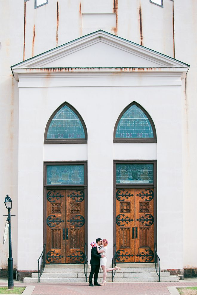 Couple outside chapel | Sweet Heart Elopement | Refine & Foster Photography