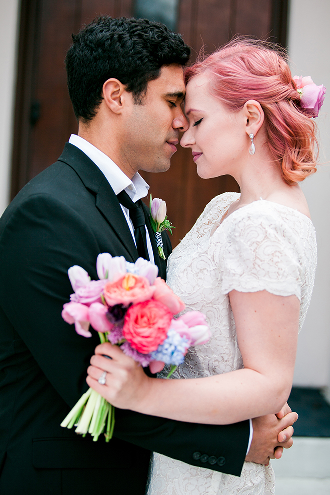 Married couple outside church | Sweet Heart Elopement | Refine & Foster Photography