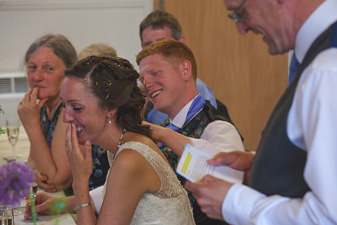 Bride and Groom laughing at reception | Outdoor Humanist Wedding | Ragdoll Photography
