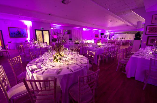 Wedding at Allianz Park with purple lighting