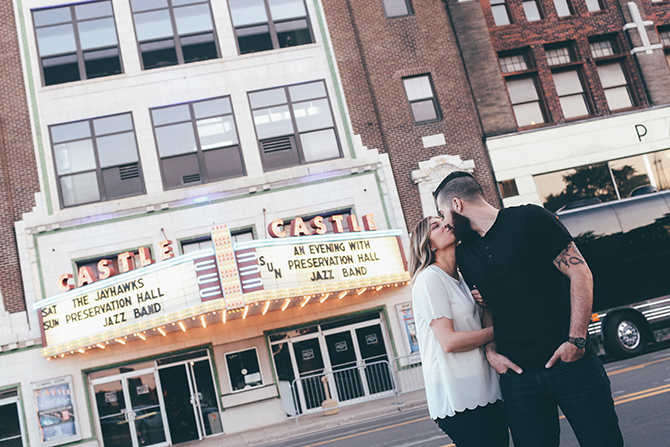 Engaged couple at cinema | Sweet and Sassy Downtown Engagement | Brandy Swartz