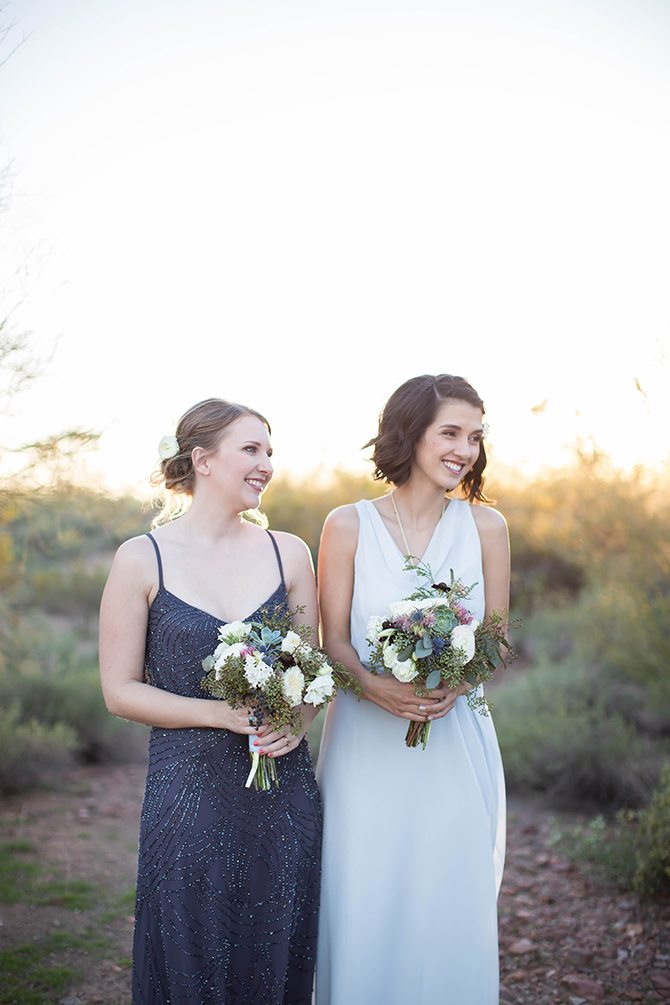 Bride and bridesmaid standing together | Geometric Wedding Inspiration | Unfaded Beauty Photography