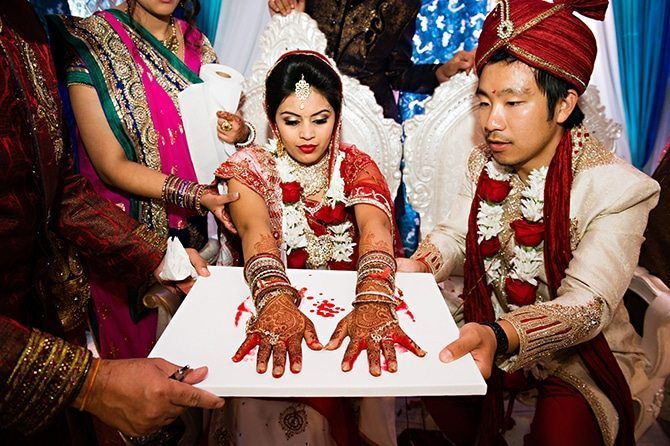 Hand print at wedding | Colourful Asian Inspired Hindu Wedding | HRM Photography