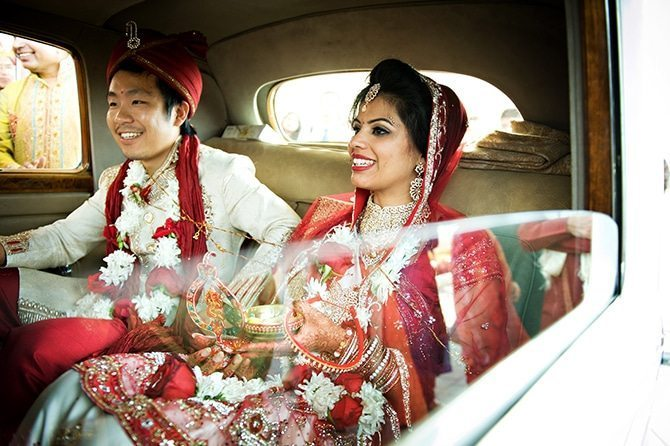 Bride and Groom in car | Colourful Asian Inspired Hindu Wedding | HRM Photography